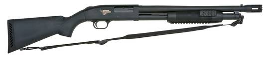 Mossberg 590 A1 http://www.armoryblog.com/firearms/shotguns/the-mossberg-500-thunder-ranch-shotgun/